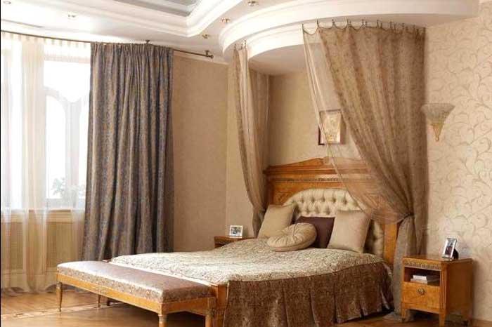 Бежевый в интерьере спальни