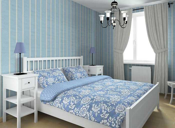 Спальня белый и голубой цвета