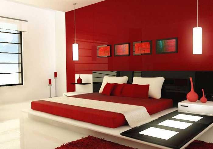 Стили красной спальни