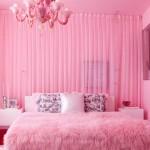 Стильная розовая спальня в элитном оформлении с фото