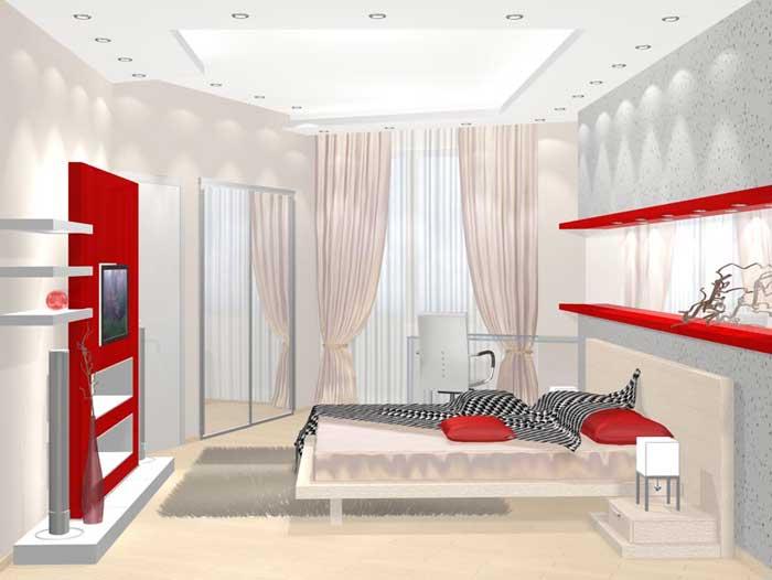 Красно-белая спальня хай-тек