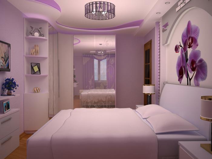Фиолетовая спальня 10 кв м
