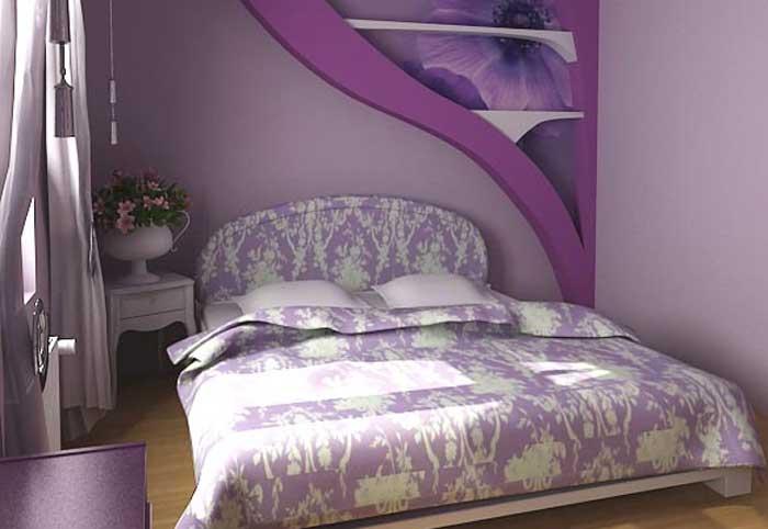 Фиолетовая маленькая спальня