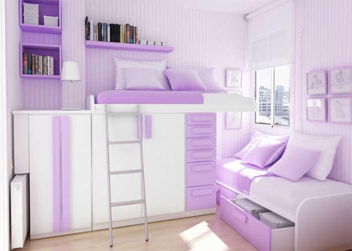 Сиреневая спальня для девочки подростка