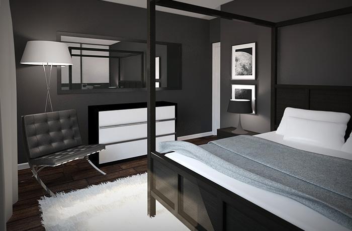 Спальня в серо-черном тоне