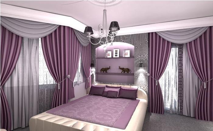 Спальня в серо-розовом цвете