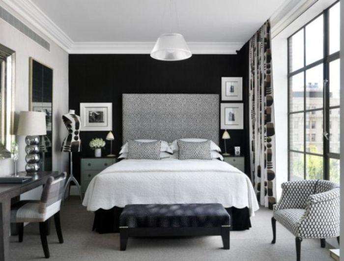 Серо-черная спальня