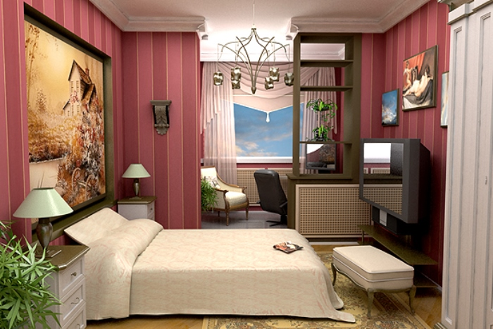Кабинет и спальня в одной комнате