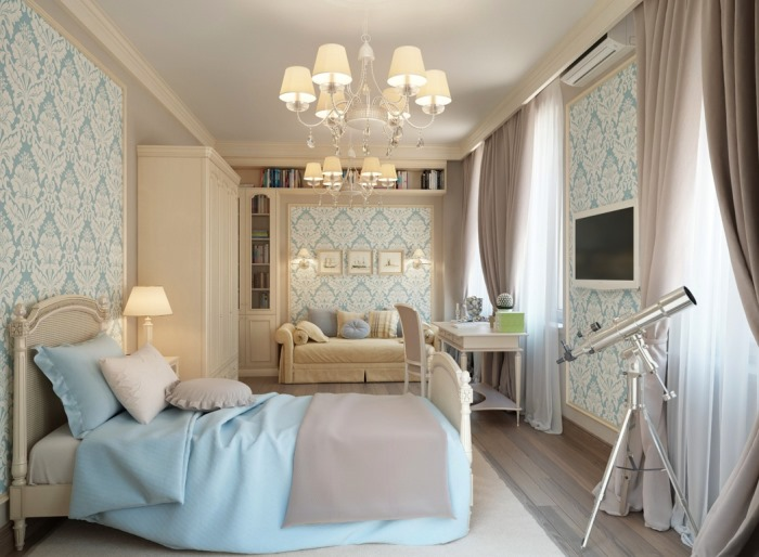 Blue-Cream-traditional-bedroom