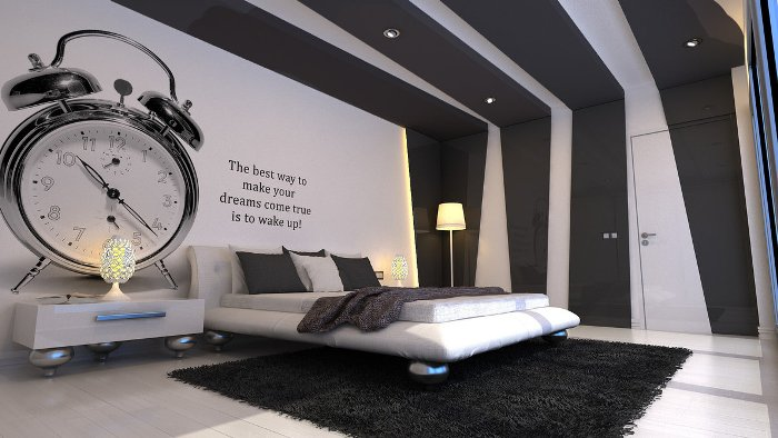 Grey-and-white-bedroom-with-insipiration-wall-quote