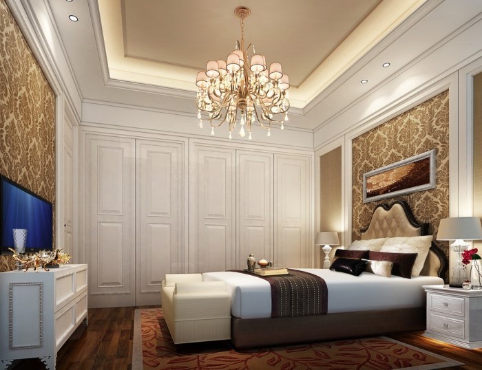 bedroom-teens-bedroom-luxurious-chandelier-in-white-themed-bedroom-with-elegant-wallpaper-tremendous-bedroom-ideas-for-young-adults-collection-design