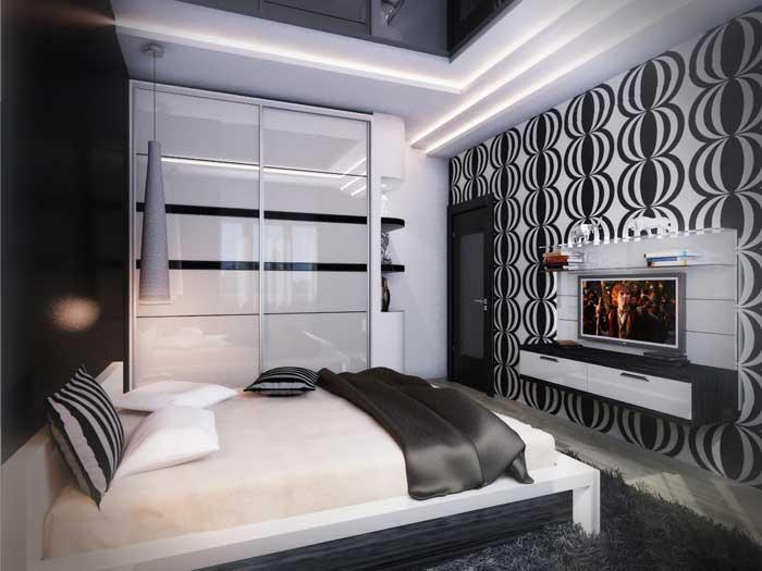 Спальня в черно белых тонах