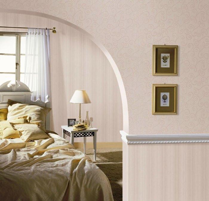 Комбинированные обои в спальне - фото