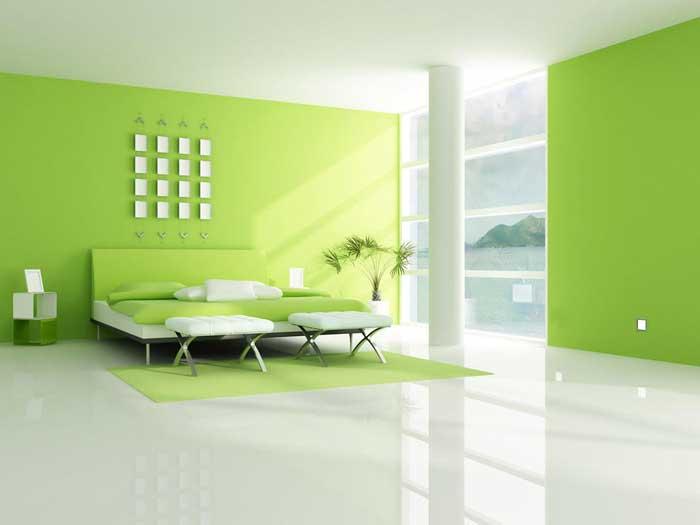 Светло-зеленая спальня