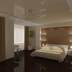 Гипсокартонные потолки в интерьере спальни
