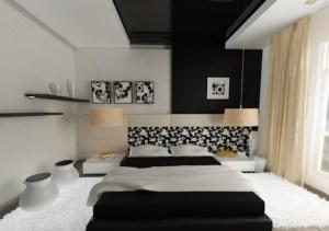 Интерьер спальни с черным потолком