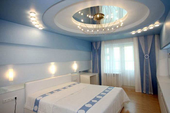 Гипсокартонные потолки в спальне