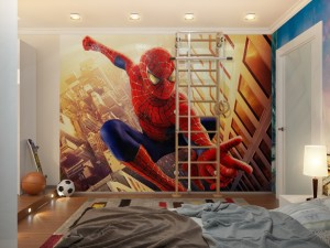 spiderman-down-lit-boys-room-with-ladder