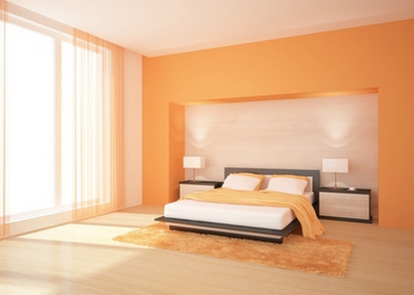 Оранжевая спальня в стиле минимализм