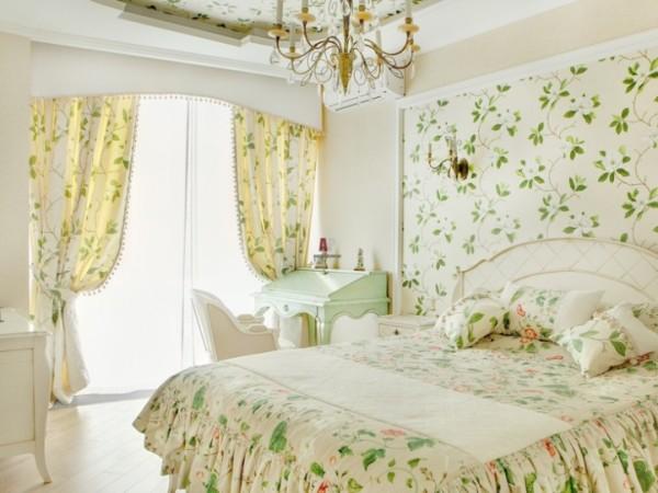 Шторы в стиле прованс в интерьере спальни