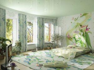 Рисунки на стене спальни
