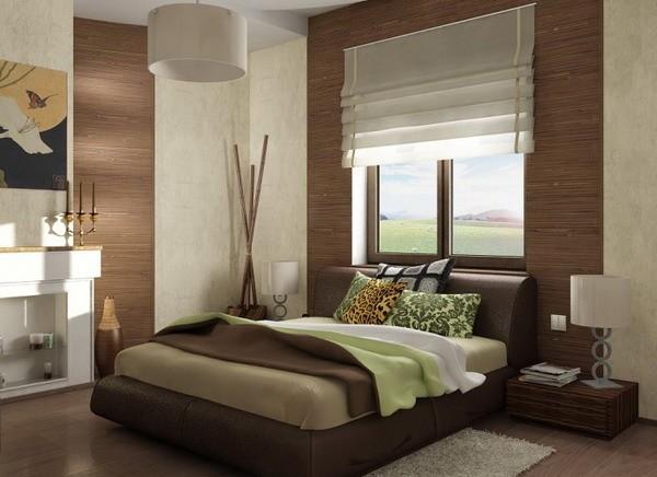 Бамбуковые обои в спальне