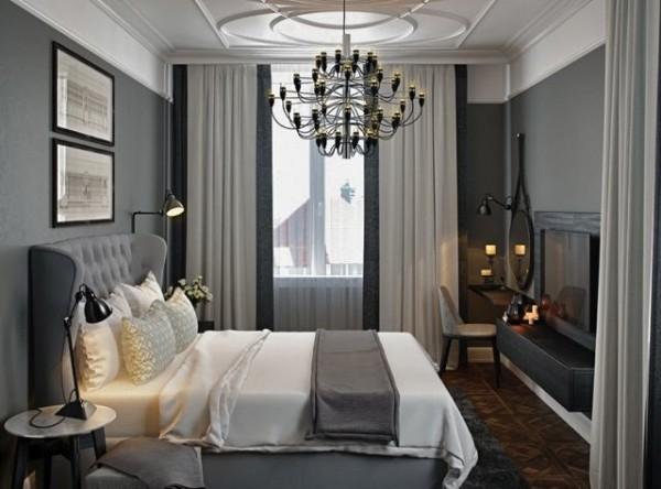 Серые шторы в интерьере спальни