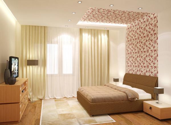 Комбинация обоев в интерьере спални