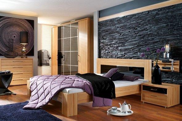 Каменные обои в интерьере спальни