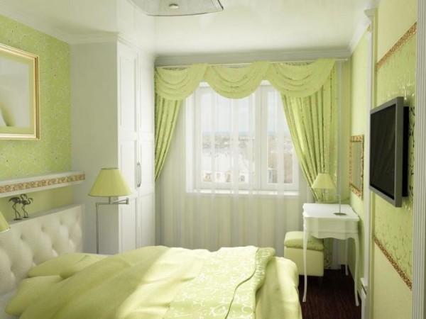 Интерьер маленькой спальни в зеленых тонах