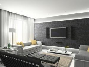 Комната с серыми обоями и белыми шторами