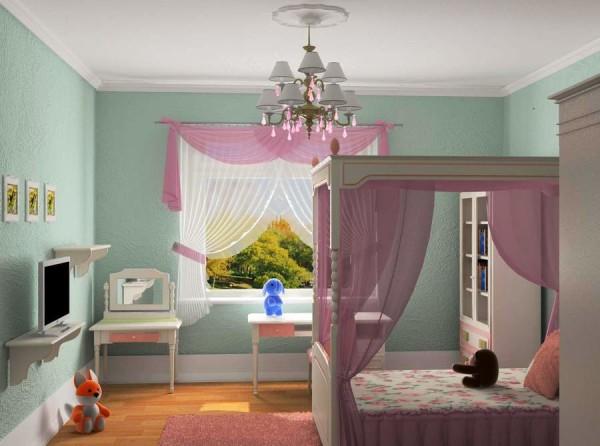 Короткие шторы в спальне